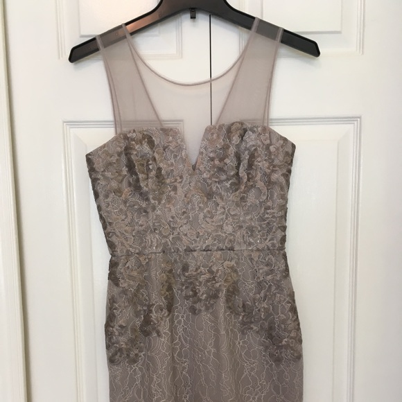 BCBGMaxAzria Dresses & Skirts - Taupe and gray lace dress for formal occasion